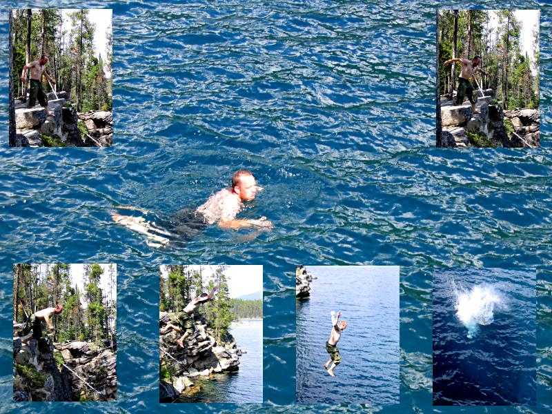 [Scott cliff jumping at Horseshoe Lake, Jasper Alberta]